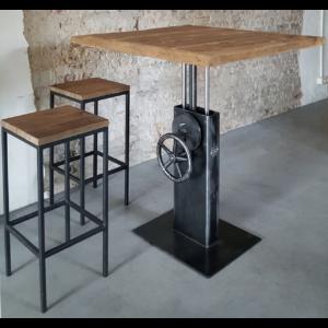 Industrial adjustable in height crank bistro table - reclaimed oak top DT26