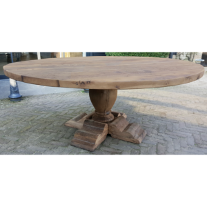 Round refectory table made of 4,5 - 5 cm sunburned reclaimed oak - Z020
