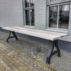 Industrial design Garden table with cast iron base, tabletop hardwood iroko | outdoor table T10