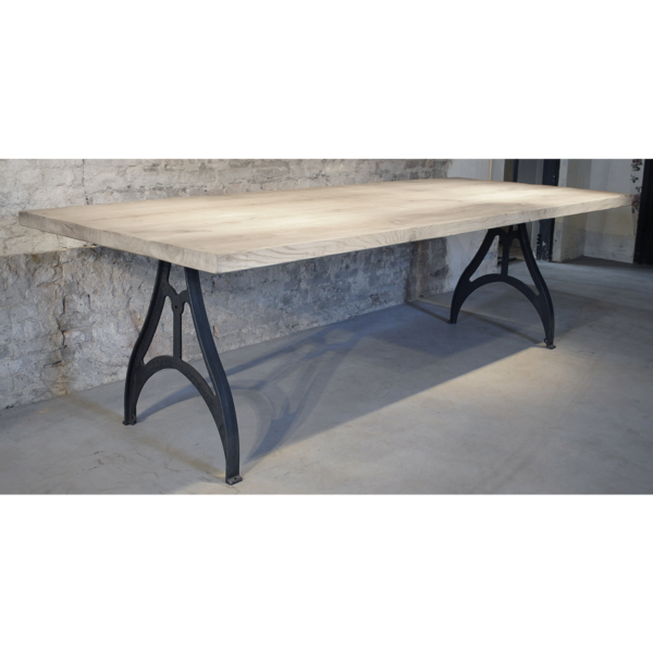 Industrial design table with rustic oak top, 4,5cm DT01