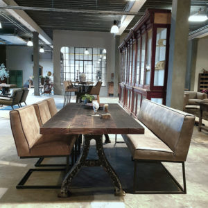 Industrial table - old cast iron base & top made of old oak winepressfloors IND660