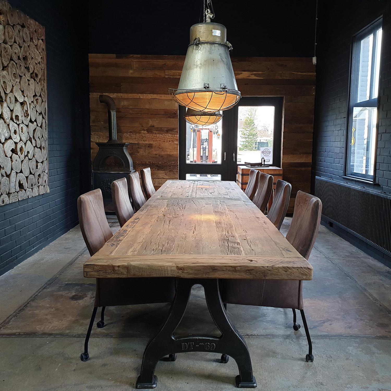 Long industrial design table - cast iron base & 7cm sunburned reclaimed oak top - IND666