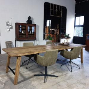 Table Bato reclaimed oak and steel Z005