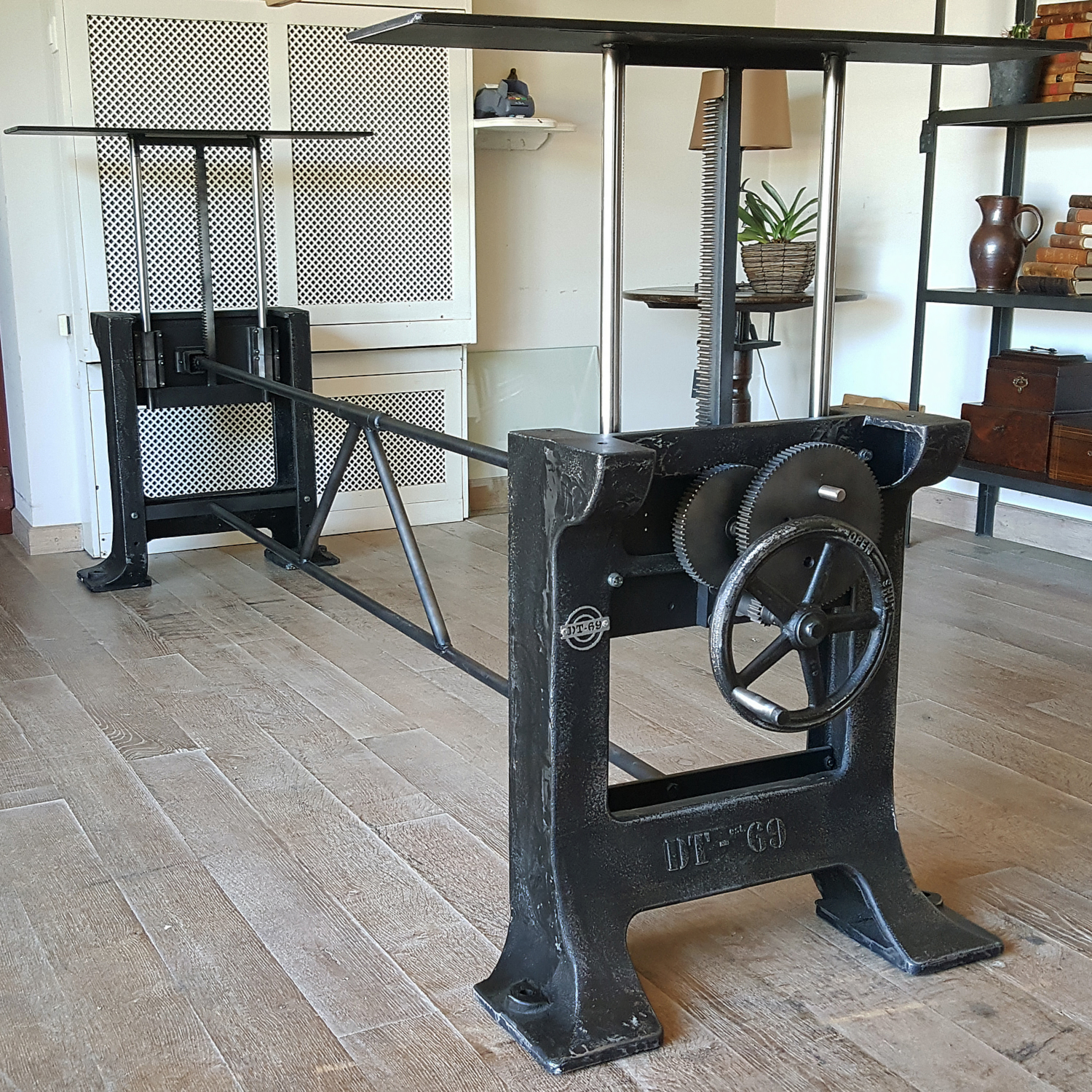 Industrial adjustable in height crank base, heavy cast iron legs Limited Edition no-025