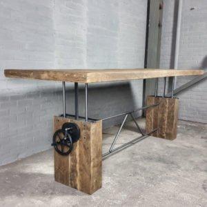 Adjustable in height crank table - sunburned reclaimed oak
