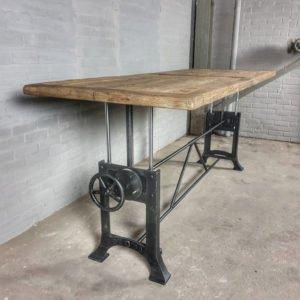 Industrial adjustable in height crank table & sunburned reclaimed oak top - DT03-5