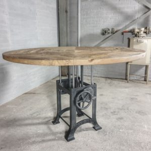 Round industrial table with a height adjustable crank base – sunburned reclaimed oak 5cm