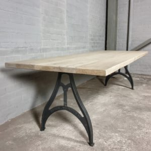 Industrial disign table - reclaimed oak top bleached - cast iron base - IND714