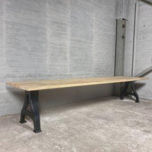Industrial design Garden table with cast iron base, tabletop hardwood iroko - T01