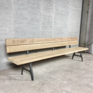 Industrial design garden bench with backrest and cast iron legs, hardwood Iroko - T06