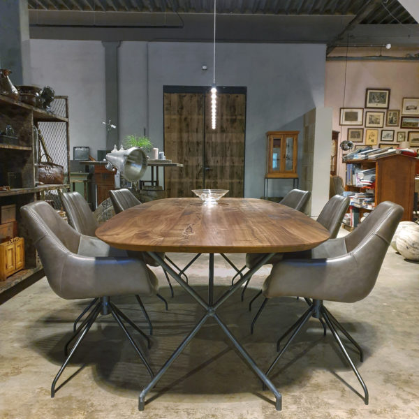 Oval table with American black walnut top, modern steel base - IND716