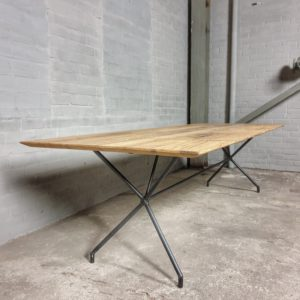 Modern table with steel frame & old oak table top with beveled edge - IND717