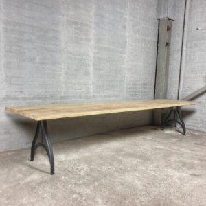Industrial design Garden table with cast iron base, tabletop hardwood iroko - T03