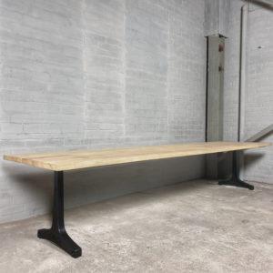 Industrial design Garden table with cast iron base, tabletop hardwood iroko - T05