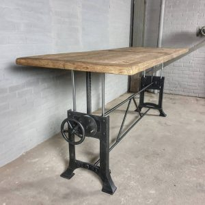 Dining table height adjustable with 5cm sunburned reclaimed oak top - industrial design