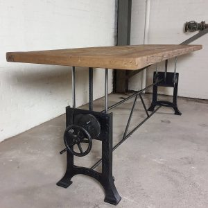 height adjustable table with 7cm old oak top - industrial design