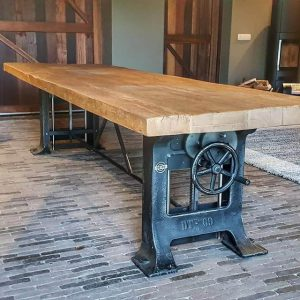 robust height adjustable Industrial table, old oak table top - cast iron base
