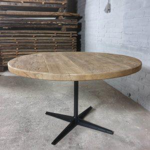 round-industrial-dining-table-reclaimed-sunburned-oak-top-modern-steel-base-dt19-01
