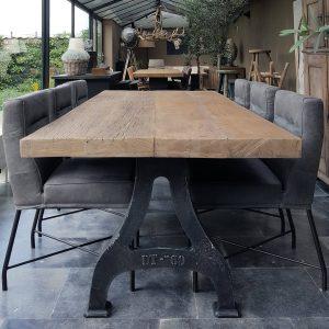 Industrial dining table old oak tabletop – DT11