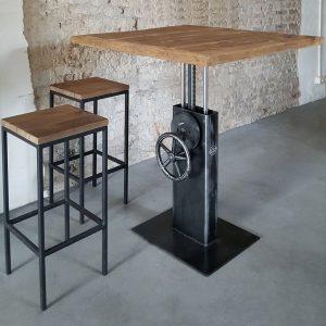 Industrial height adjustable crank bistro table – reclaimed oak top – DT26