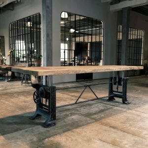 Industrial height adjustable oak table – Limited Edition – LIM25